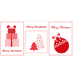 merry christmas greeting cards flat new year vector image