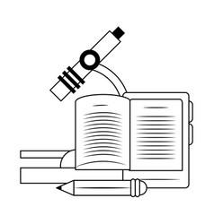 microscope and pencil design vector image