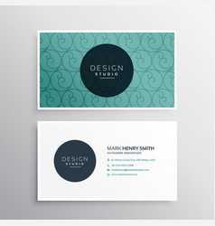 Minimal blue business card with pattern design vector