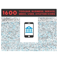 Mobile Bank Icon with Large Pictogram Collection vector