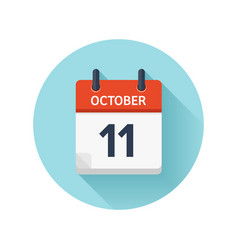 October 11 flat daily calendar icon date vector