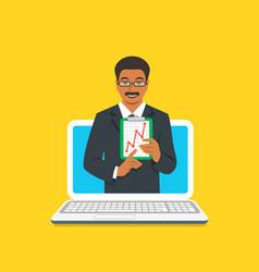Online business school male coach concept vector