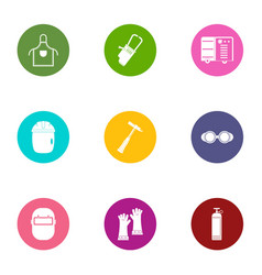 Ore icons set flat style vector