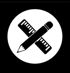 pencil with ruler icon design vector image