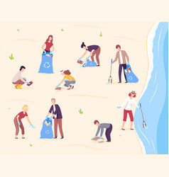 people collecting trash into plastic bags vector image