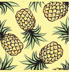 pineapple watercolor seamless pattern juicy vector image