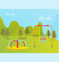 Playground near green trees and mountains vector