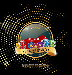poker casino banner with chips and dices vector image