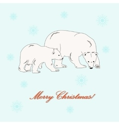 Polar bear mother and baby vector image