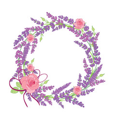 Rose and lavender flowers wreath decor arrangement vector