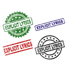 Scratched textured explicit lyrics seal stamps vector