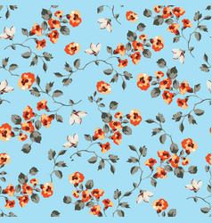 Seamless pattern design with little forget me not vector