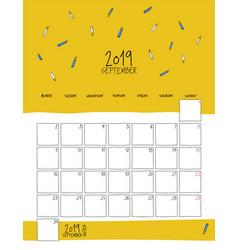 september 2019 wall calendar doodle style vector image
