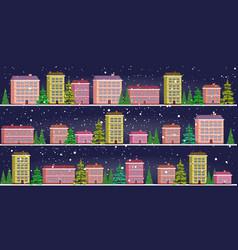 set cute houses in winter season snowy town street vector image
