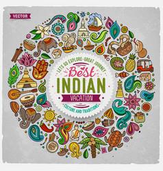 Set indian cartoon doodle objects vector