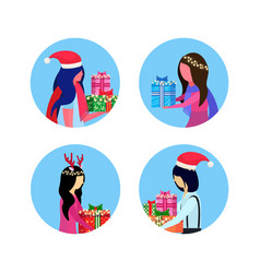 set mix race woman holding gift box happy new year vector image