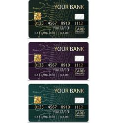 Set of 3 credit cardsiv pcb-layout style vector