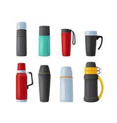 Set thermos vacuum flask tumblers mugs vector