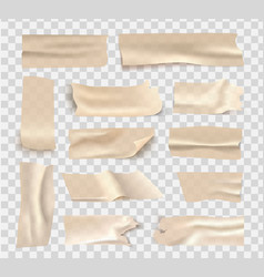 set transparent brown adhesive tape vector image