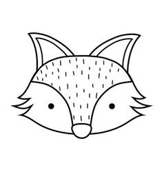 silhouette cute fox head wild animal vector image