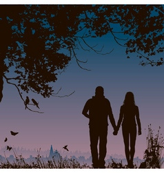Silhouette of a couple going on a walk vector