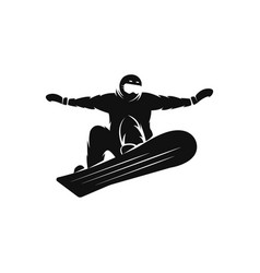silhouette of a snowboarder on the snowboard free vector image