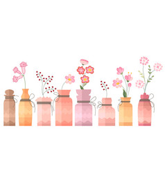 Small vintage decorative bottles on white vector
