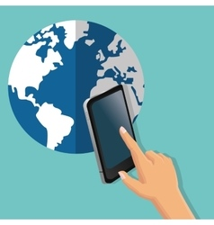 Smartphone global communication earth planet icon vector