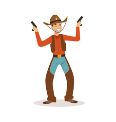 Smiling cowboy holding his guns western cartoon vector