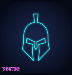 Spartan helmet sign neon light design vector