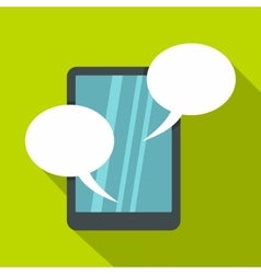 Speech bubble on phone icon flat style vector