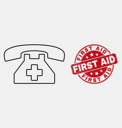 stroke first aid phone icon and distress vector image