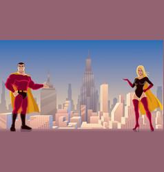 Superhero couple presenting vector