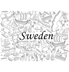 Sweden Coloring Book Vector Image