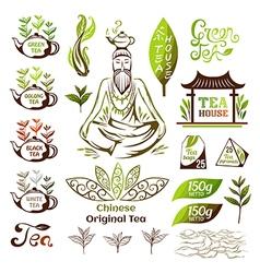 Tea logo collection vector