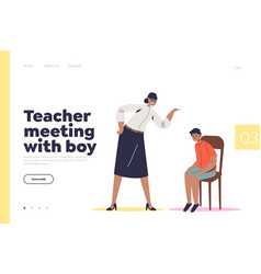 Teacher meeting with boy concept landing page vector