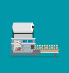 the machine makes dollar bills the financial vector image