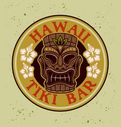 tiki hawaiian tribal wooden mask colorful vector image