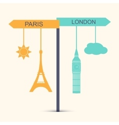 Travel banner Concept of choice between London vector image