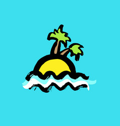 tropical island with palms yellow and blue sea vector image