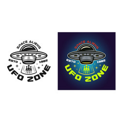 Ufo zone emblem in two styles vector