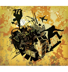 urban poster with skaters vector image