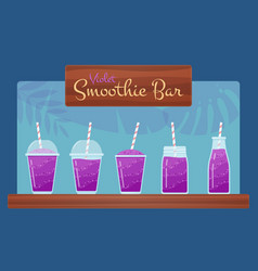Violet natural vitamin smoothies set vector