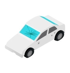 White car with broken windshield isometric 3d icon vector
