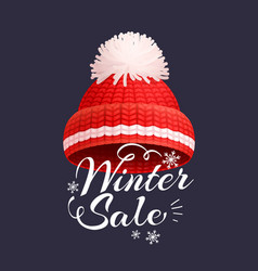winter sale poster knitted red hat icon vector image
