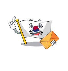with envelope korean flag in cartoon shape vector image
