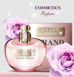 Women perfume bottle rose fragrance realistic vector
