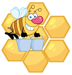 Worker Bee Carrying Two Buckets Over Honey Combs vector image