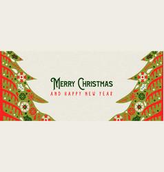 Year retro folk art pine tree banner vector