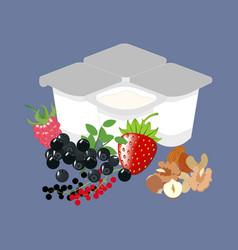 yogurt with berries healthy food vector image